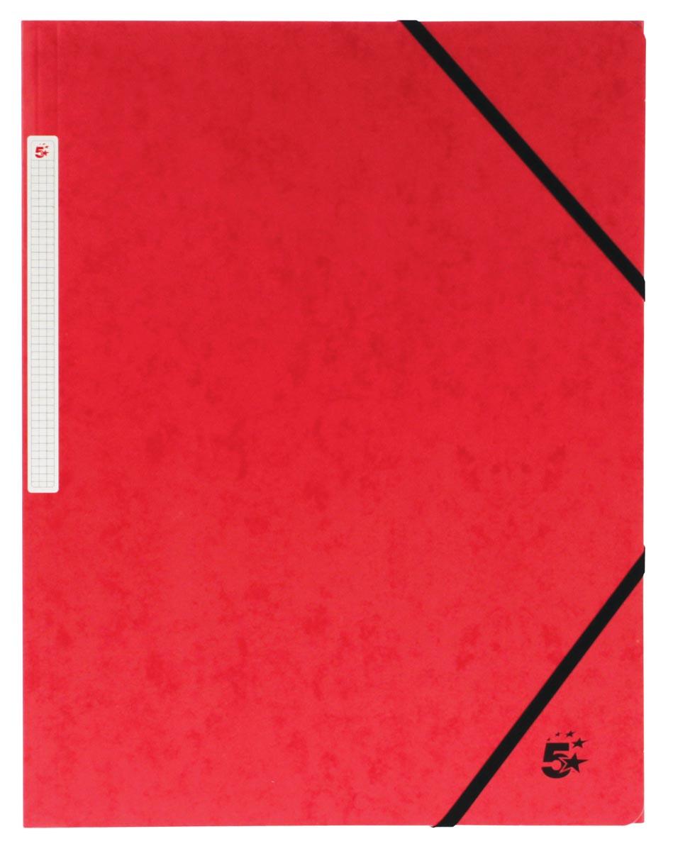 5 Star elastomap, ft A4 (24x32 cm), met elastieken zonder kleppen, rood, pak van 10 stuks