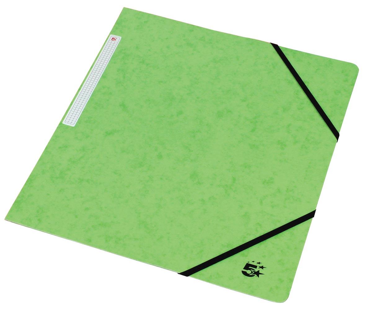 5 Star elastomap, ft A4 (24x32 cm), met elastieken zonder kleppen, lichtgroen, pak van 10 stuks