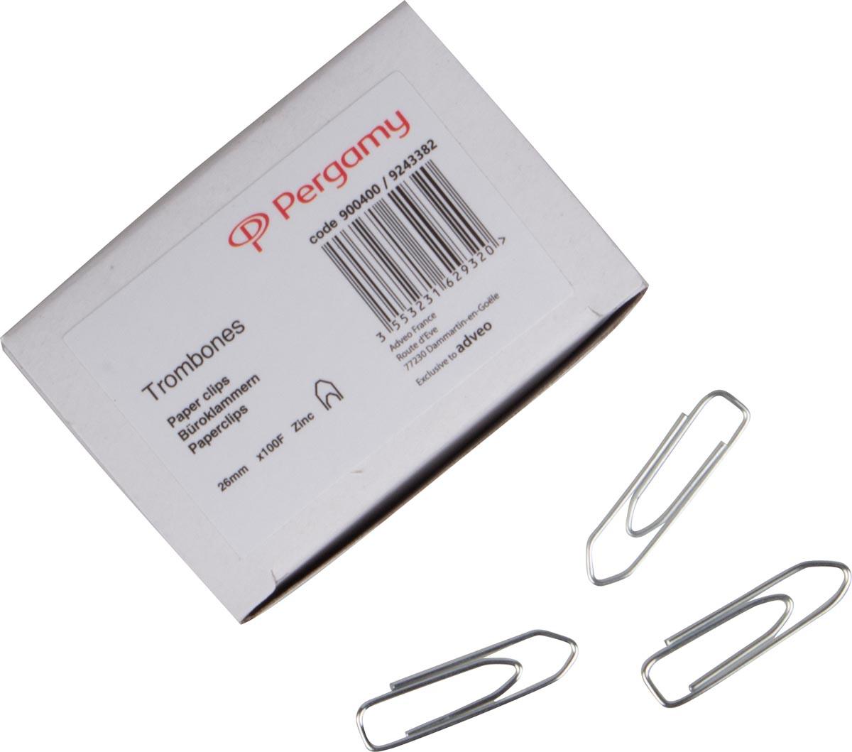 Pergamy papierklemmen 26 mm gepunt, doos van 100 stuks