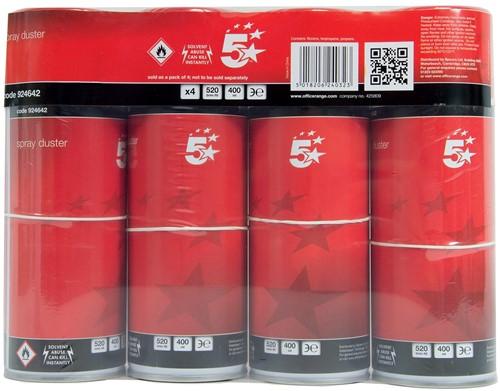 5 Star CFK-vrije persluchtreiniger, spuitbus van 400 ml, pak van 4 stuks