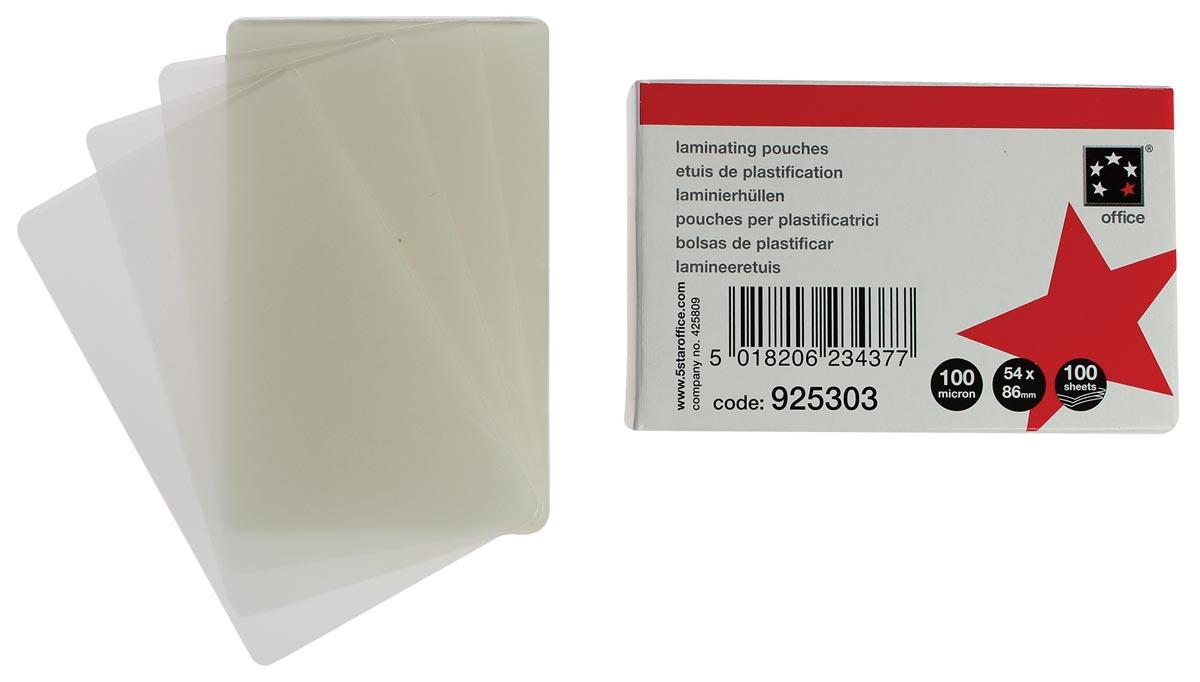 5 Star lamineerhoes ft 54 x 86 mm, 100 micron (2 x 50 micron), pak van 100 stuks