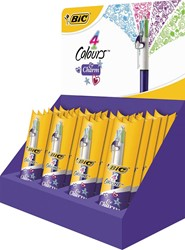 Bic balpen 4 Colours Charm Fashion, display met 24 stuks