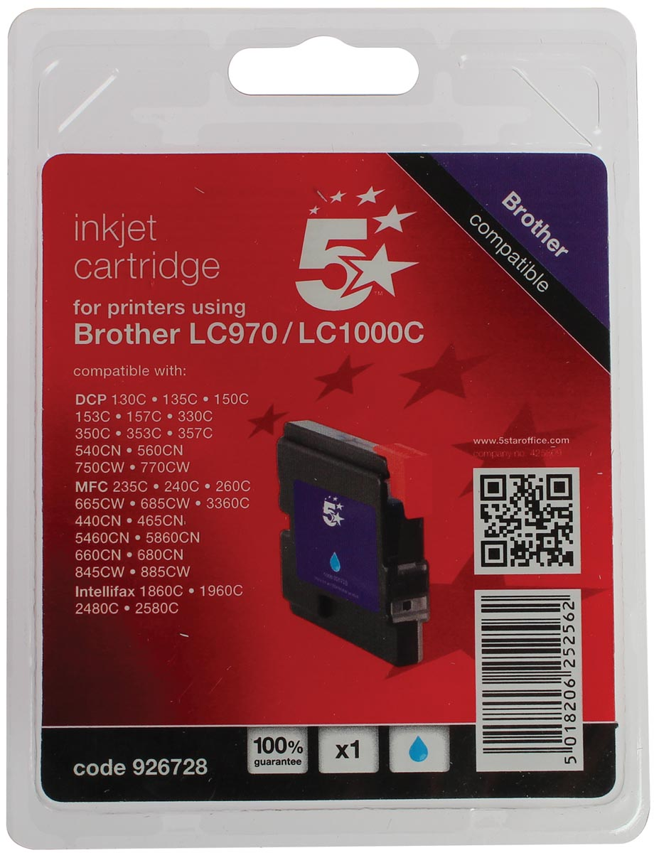 5 Star inktcartridge cyaan, 400 pagina's voor Brother - OEM: LC1000C