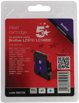 5 Star inktcartridge cyaan, 400 pagina's voor Brother - OEM: LC1000C