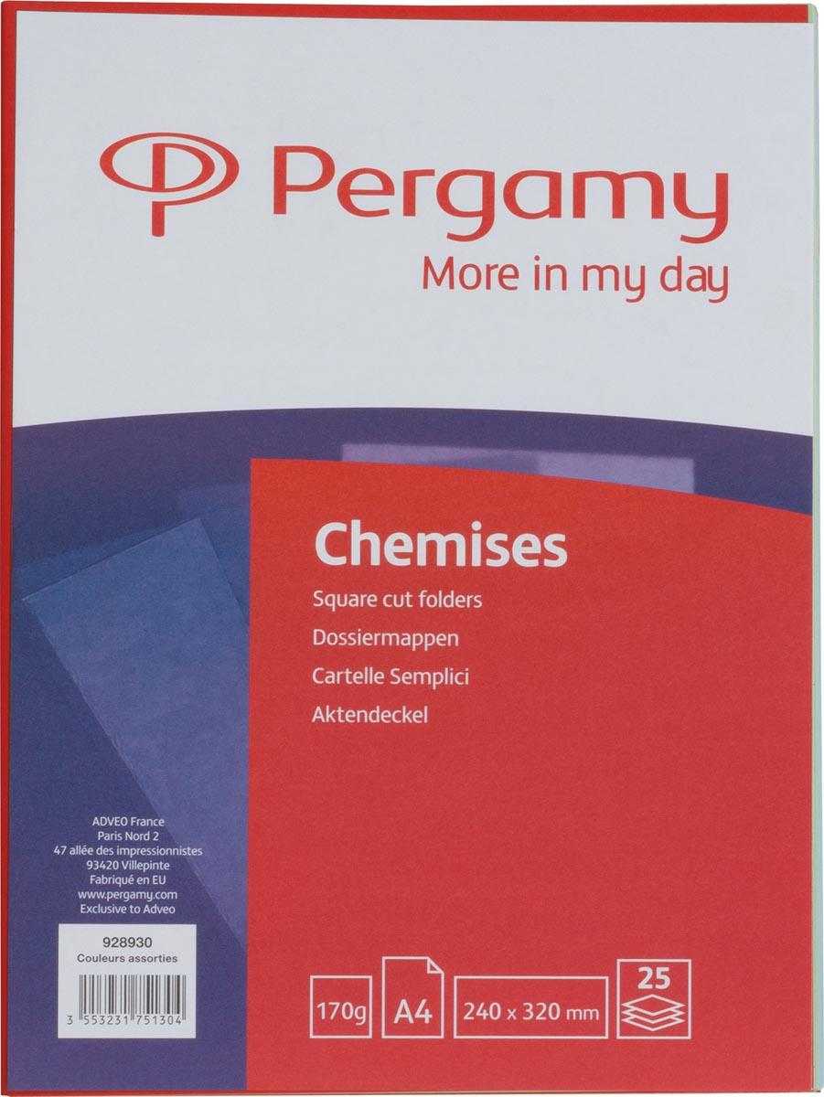 Pergamy dossiermap, voor ft A4, pak van 25 stuks in geassorteerde kleuren