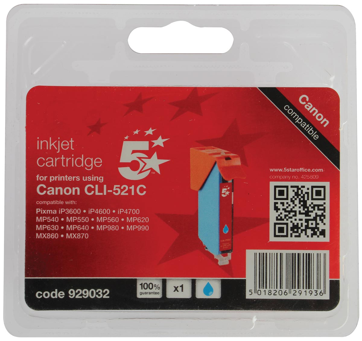 5 Star inktcartridge cyaan, 448 pagina's voor Canon CLI-521C - OEM: 2934B001