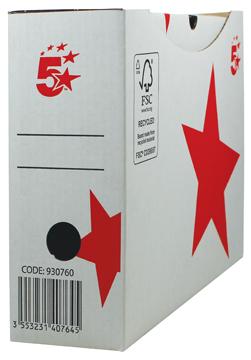 5 Star archiefdoos 25x33x10 cm, wit, automatische montage