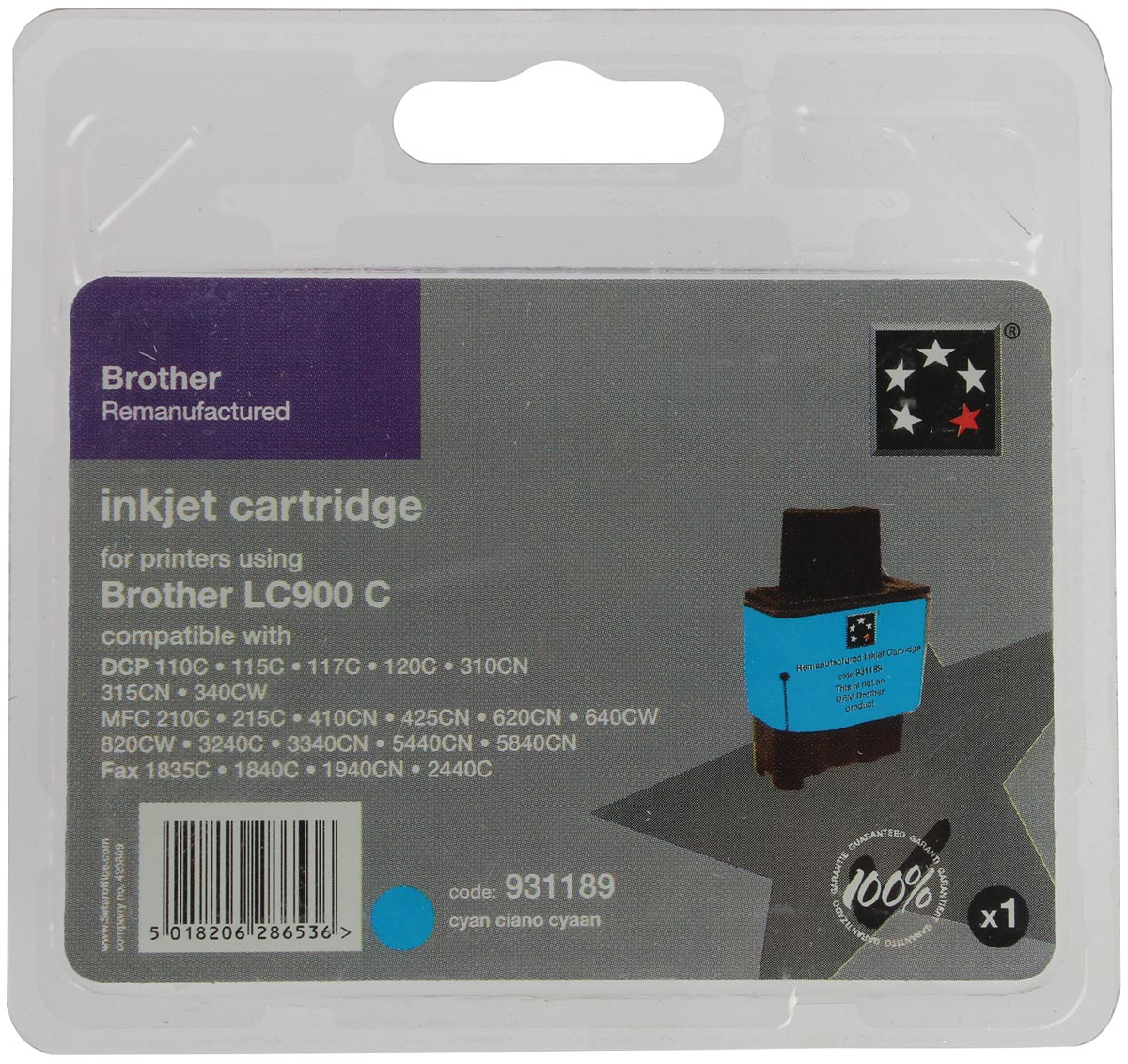 5 Star inktcartridge cyaan, 400 pagina's voor Brother - OEM: LC900C