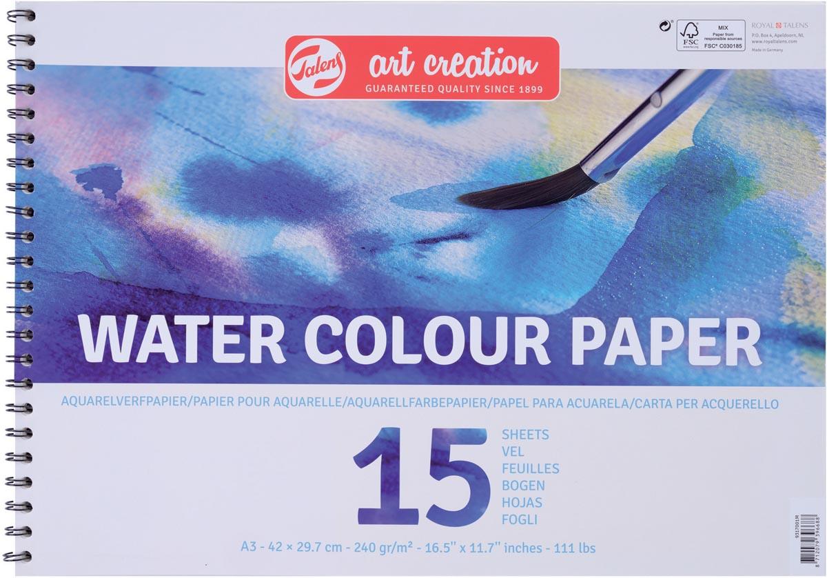 Talens Art Creation aquarelpapier, 240 g/m², ft A3, blok met 15 vellen
