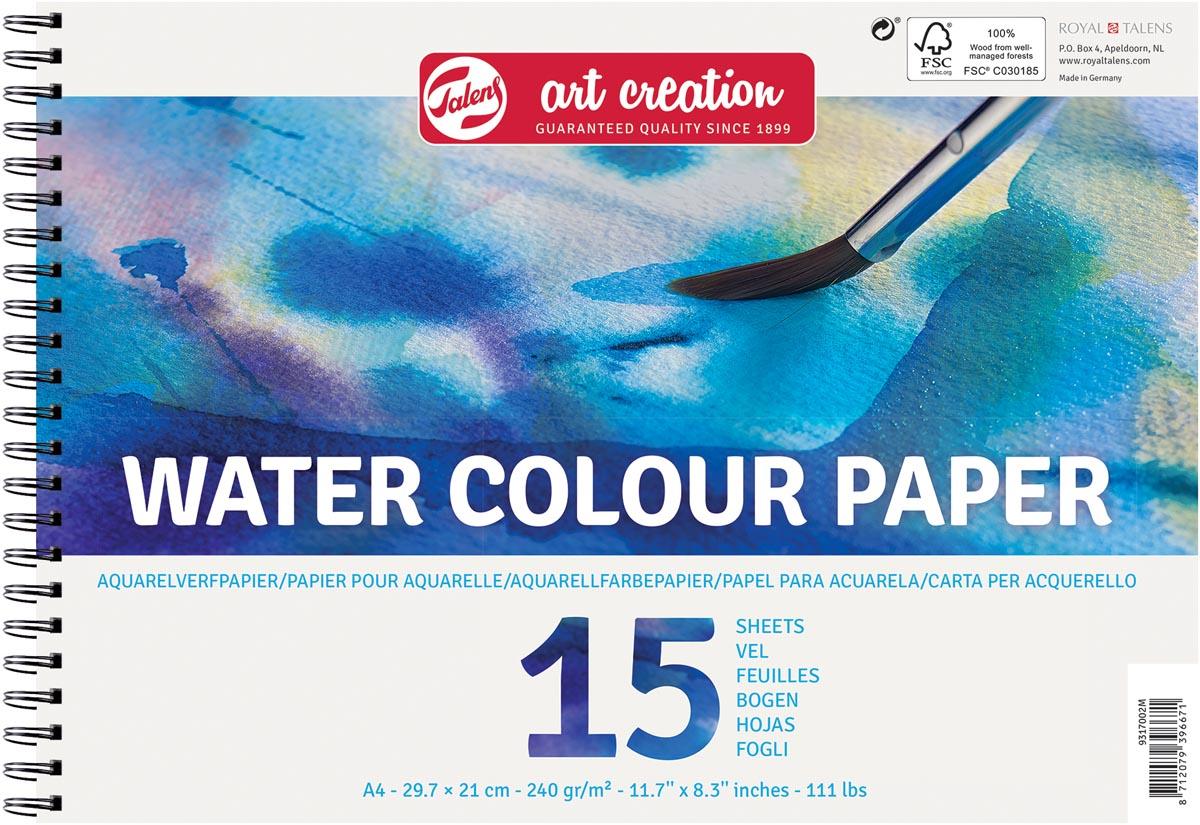 Talens Art Creation aquarelpapier, 240 g/m², ft A4, blok met 15 vellen