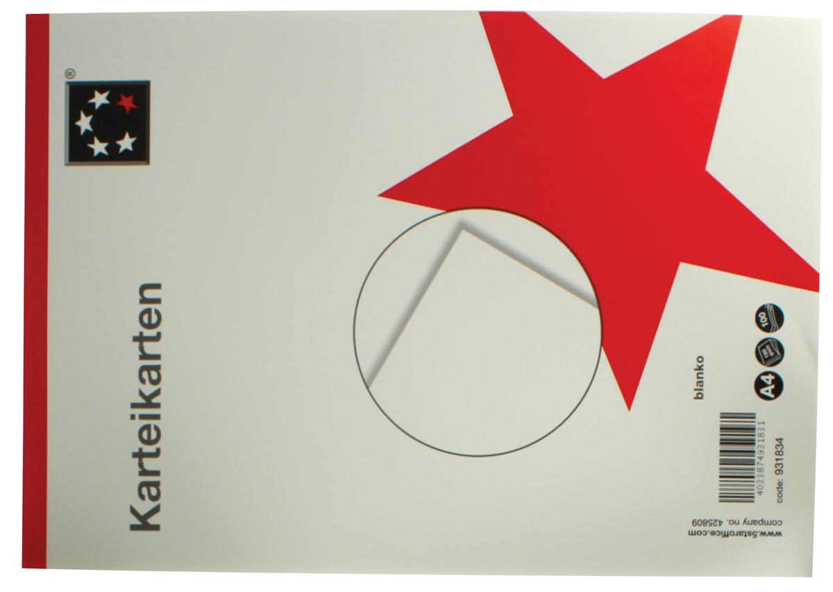 5 Star witte systeemkaarten ft A4, blanco, 100 stuks