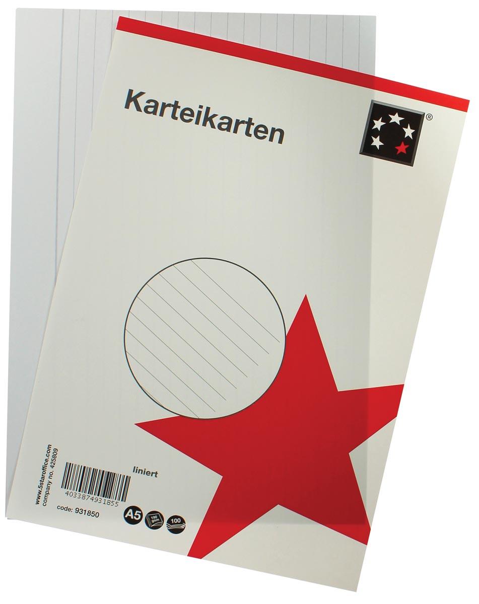 5 Star witte systeemkaarten ft A5, gelijnd, 100 stuks
