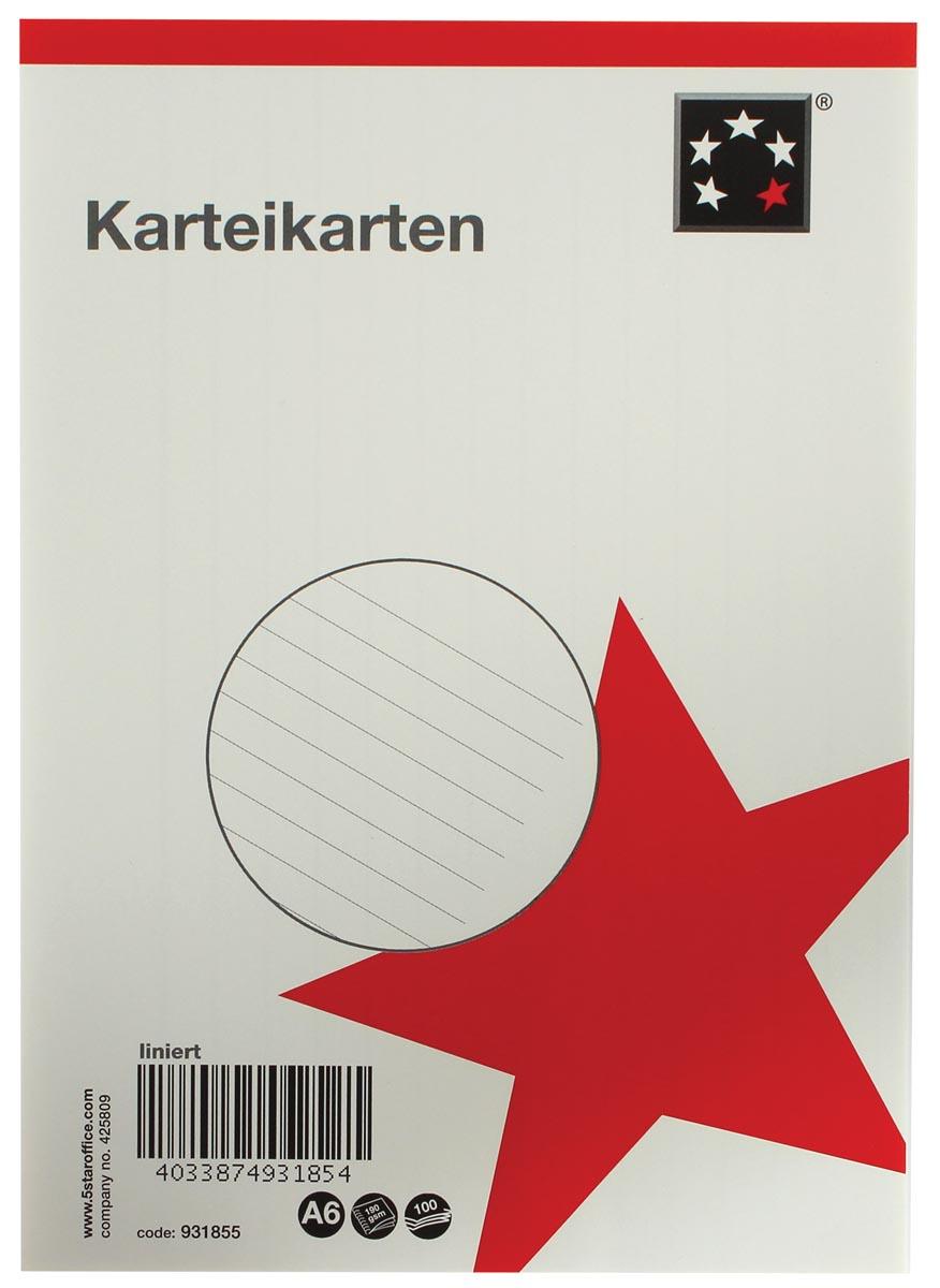 5 Star witte systeemkaarten ft A6, gelijnd, 100 stuks
