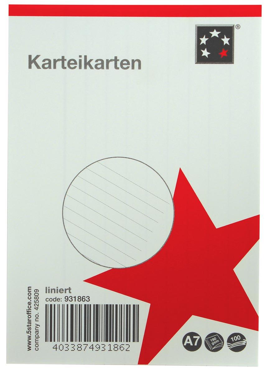 5 Star witte systeemkaarten ft A7, gelijnd, 100 stuks
