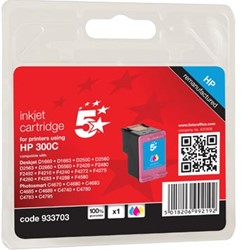5 Star inktcartridge 3 kleuren, 165 pagina's voor HP 300 - OEM: CC643EE