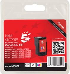 5 Star inktcartridge 3 kleuren, 244 pagina's voor Canon CL-511 - OEM: 2972B001