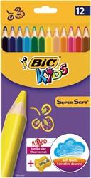 Bic Kids driehoekig kleurpotlood Supersoft, etui met 12 stuks