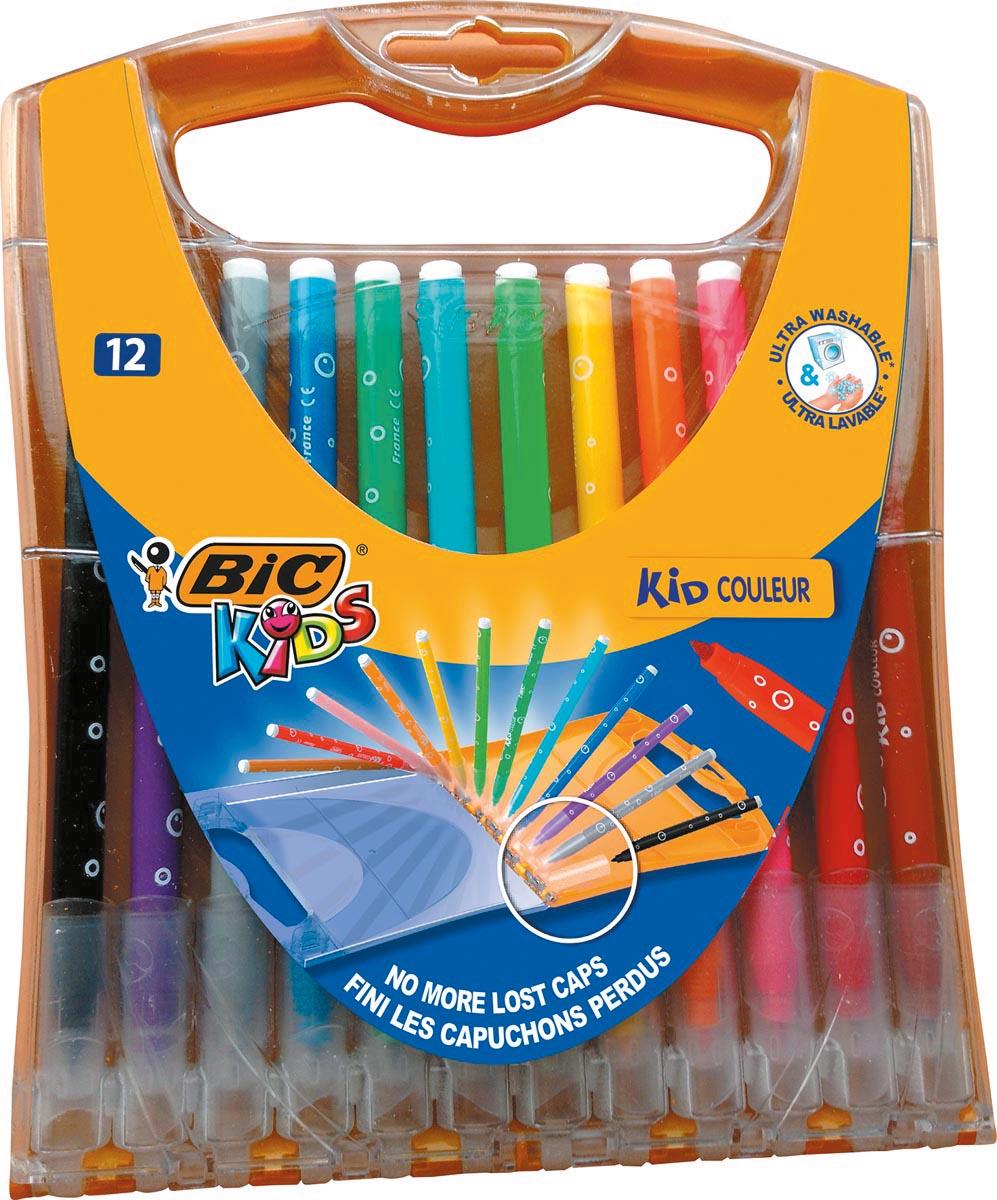 Bic Kids viltstiften Kid Couleur Rainbow Case met 12 viltstiften in geassorteerde kleuren
