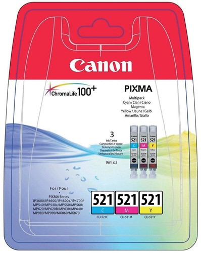 Canon inktcartridge CLI-521, 446 pagina's, OEM 2934B010, 3 kleuren