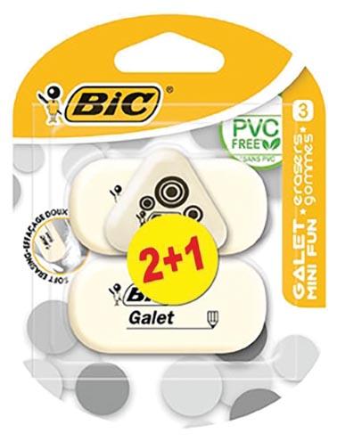 Bic gum Galet 2 stuks + 1 gum Mini Fun gratis, op blister