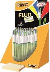 Bic balpen 4 Colours Fluo, display met 18 stuks
