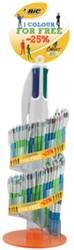 Bic balpen 4 Colours assortiment, mega display 1 met 204 stuks