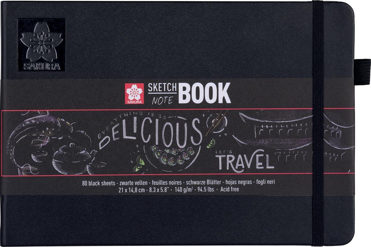 Sakura schetsboek Note, zwart, ft A5
