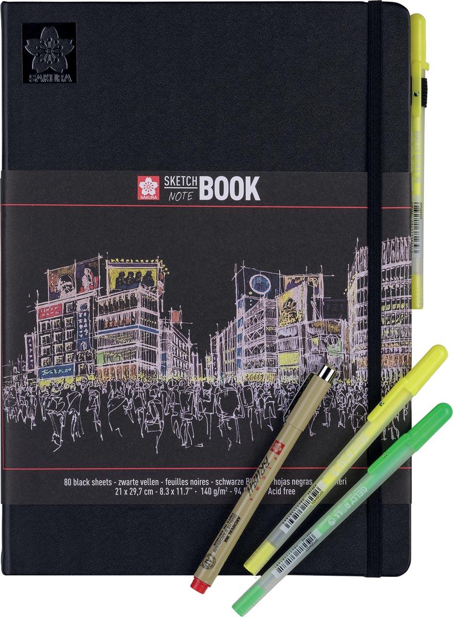 Sakura schetsboek Note, zwart, ft A4