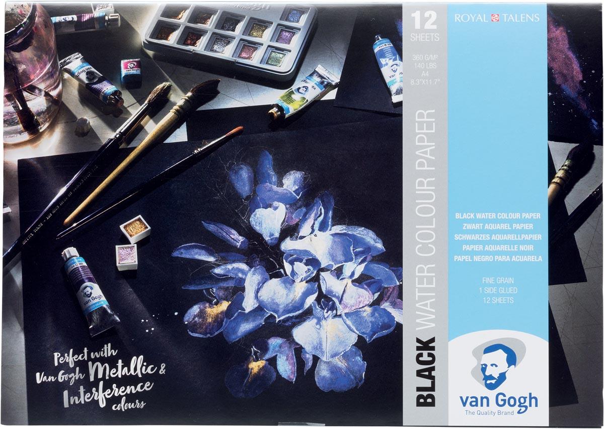 Van Gogh aquarelpapier, zwart, 360 g/m², ft A4, blok met 12 vellen