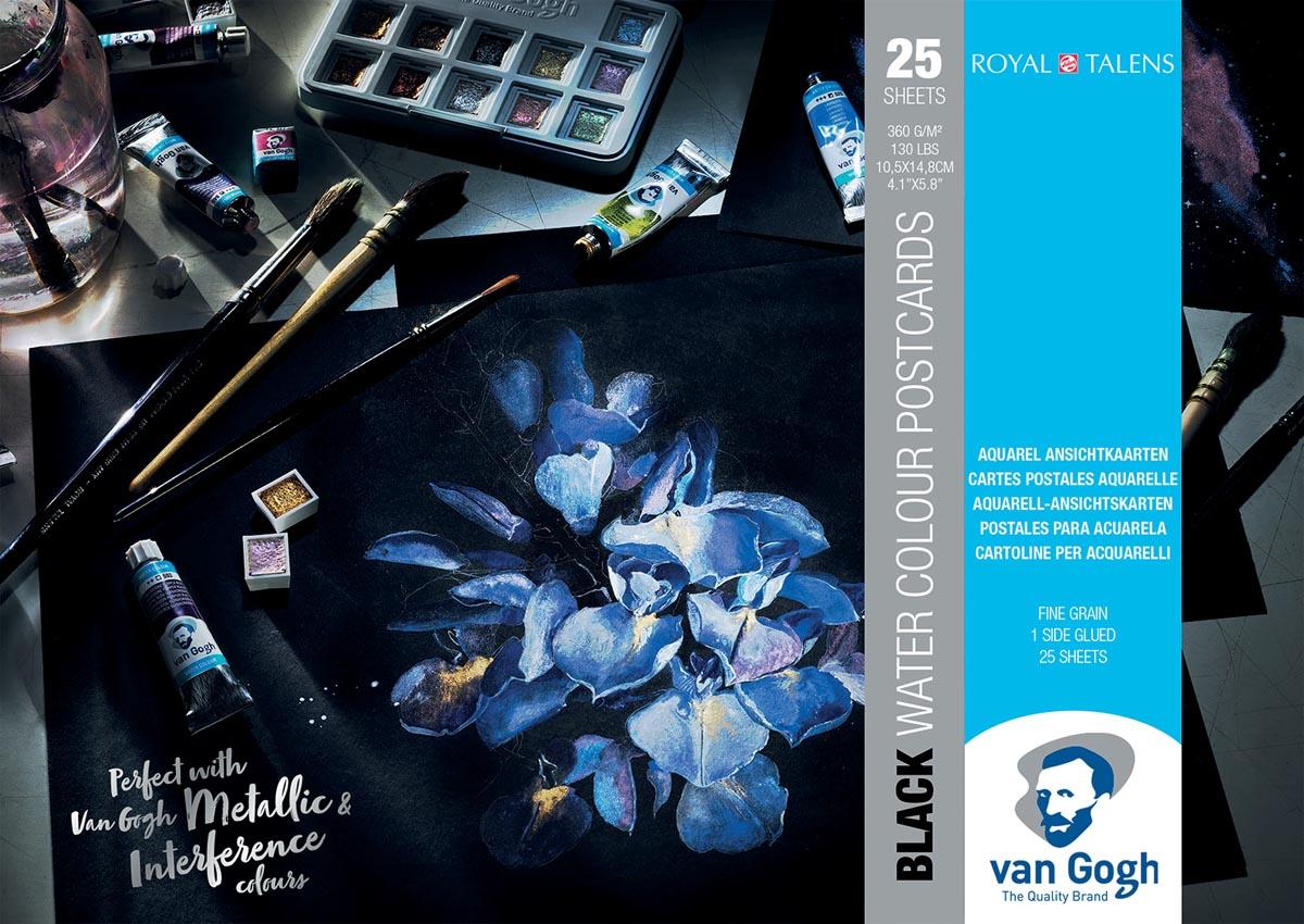 Van Gogh aquarelpapier, zwart, 360 g/m², ft A6, blok met 12 vellen