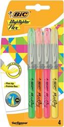 Bic markeerstift Highlighter Flex, blister met 4 stuks in geassorteerde kleuren