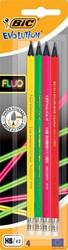 Bic potlood met gum Evolution fluo, blister met 4 stuks