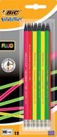 Bic potlood met gum Evolution fluo, blister met 12 stuks
