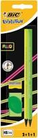Bic potlood Evolution Fluo, blister met 2 stuks, 1 slijper en 1 gum in geassorteerde kleuren-2