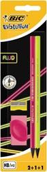 Bic potlood Evolution Fluo, blister met 2 stuks, 1 slijper en 1 gum in geassorteerde kleuren