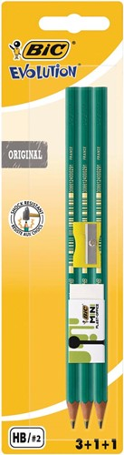 Bic potlood Evolution 650, 3 stuks + gum + slijper, op blister