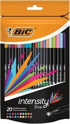 Bic fineliner Intensity, blister met 20 stuks in geassorteerde kleuren