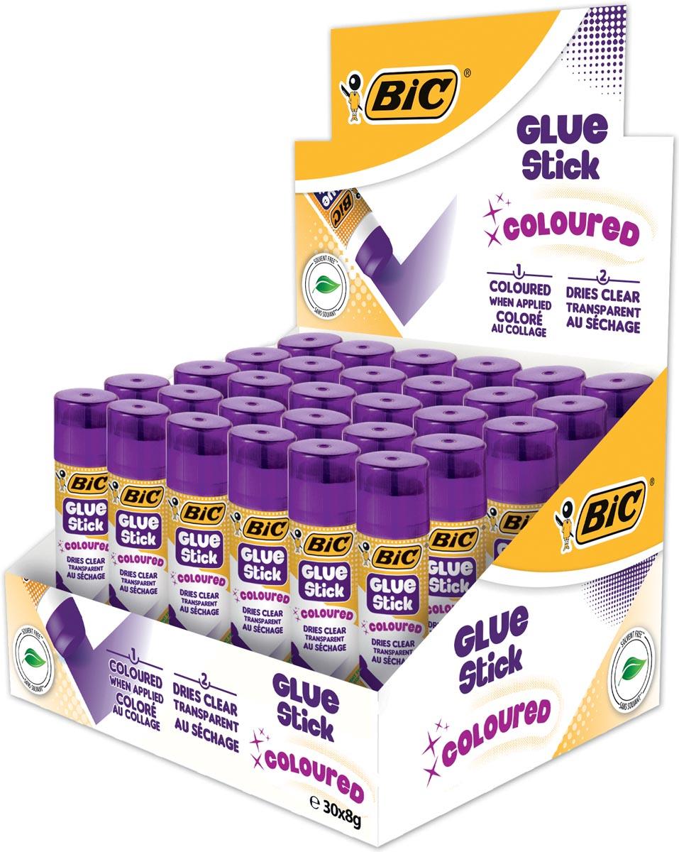 Bic gekleurde plakstift 8 g, display met 30 stuks