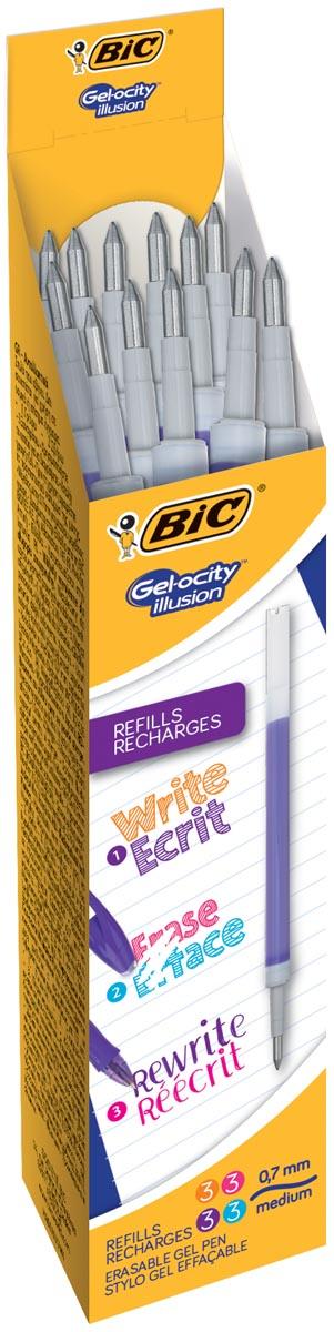Bic vulling voor gelroller Gel-ocity illusion, doos met 12 stuks, geassorteerde fun kleuren