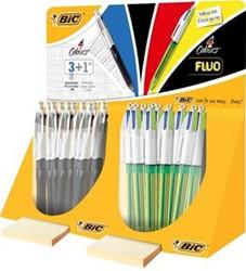 Bic balpen 4 Colours 3 + 1 HB en balpen 4 Colours Fluo, display met 40 stuks