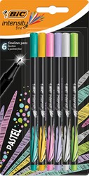 Bic fineliner Intensity, blister met 6 stuks in geassorteerde pastelkleuren