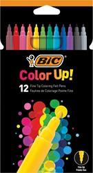 Bic viltstiften Color Up, kartonnen etui met 12 stuks in geassorteerde kleuren