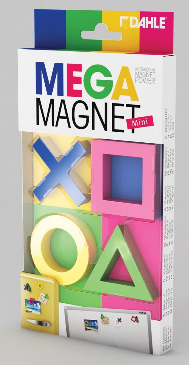 Dahle Mega Magnet Mini, Neodymium magneet, pak van 4 stuks in leuke vormen