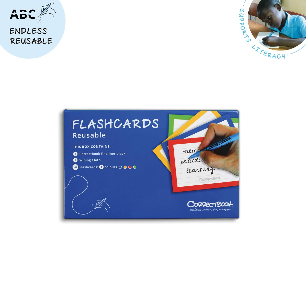 Correctbook Flashcards (systeemkaarten), ft A5, uitwisbaar - herbruikbaar, gelijnd, set van 6 stuks