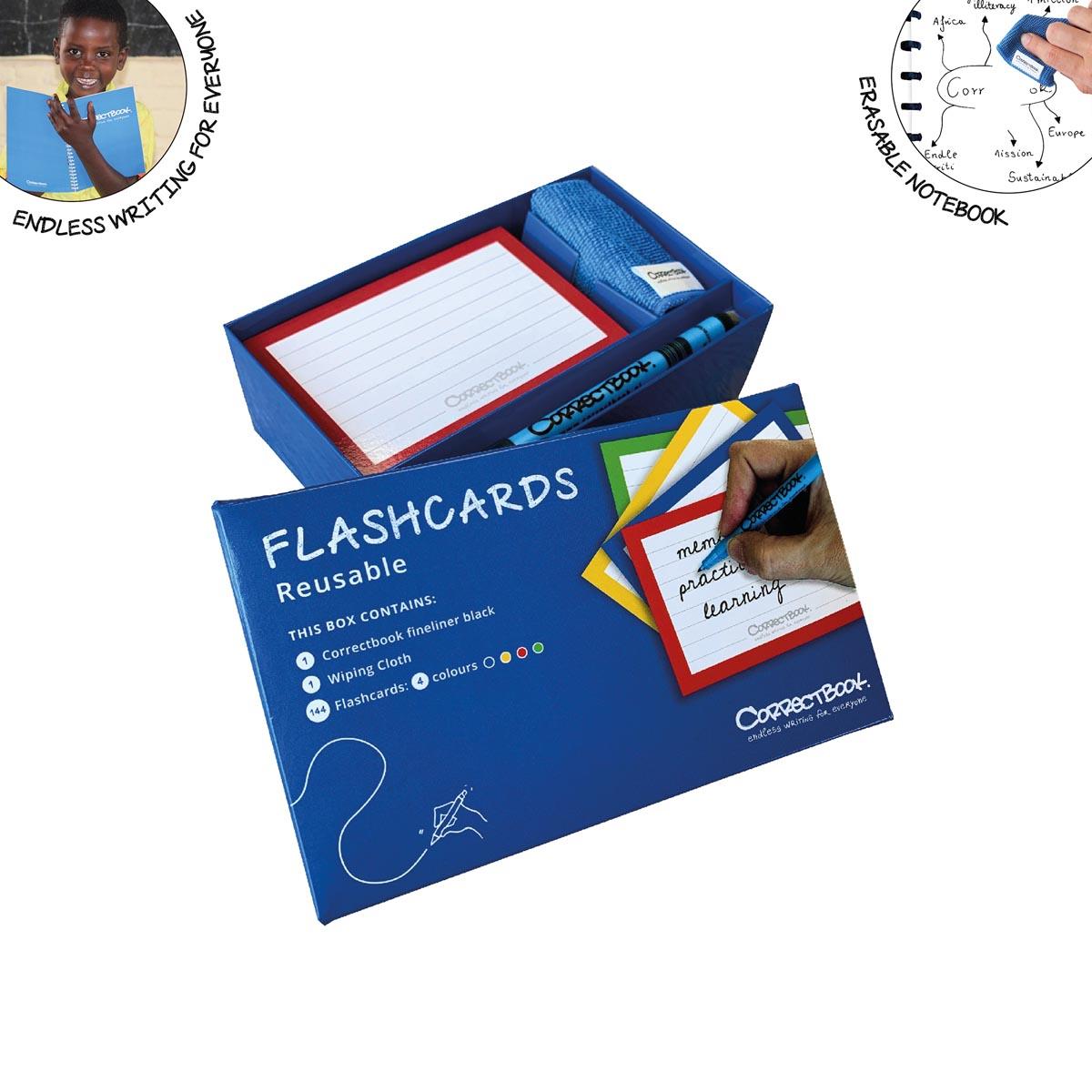 Correctbook Flashcards (systeemkaarten), ft A5, uitwisbaar / herbruikbaar, gelijnd, pak van 144 stuk
