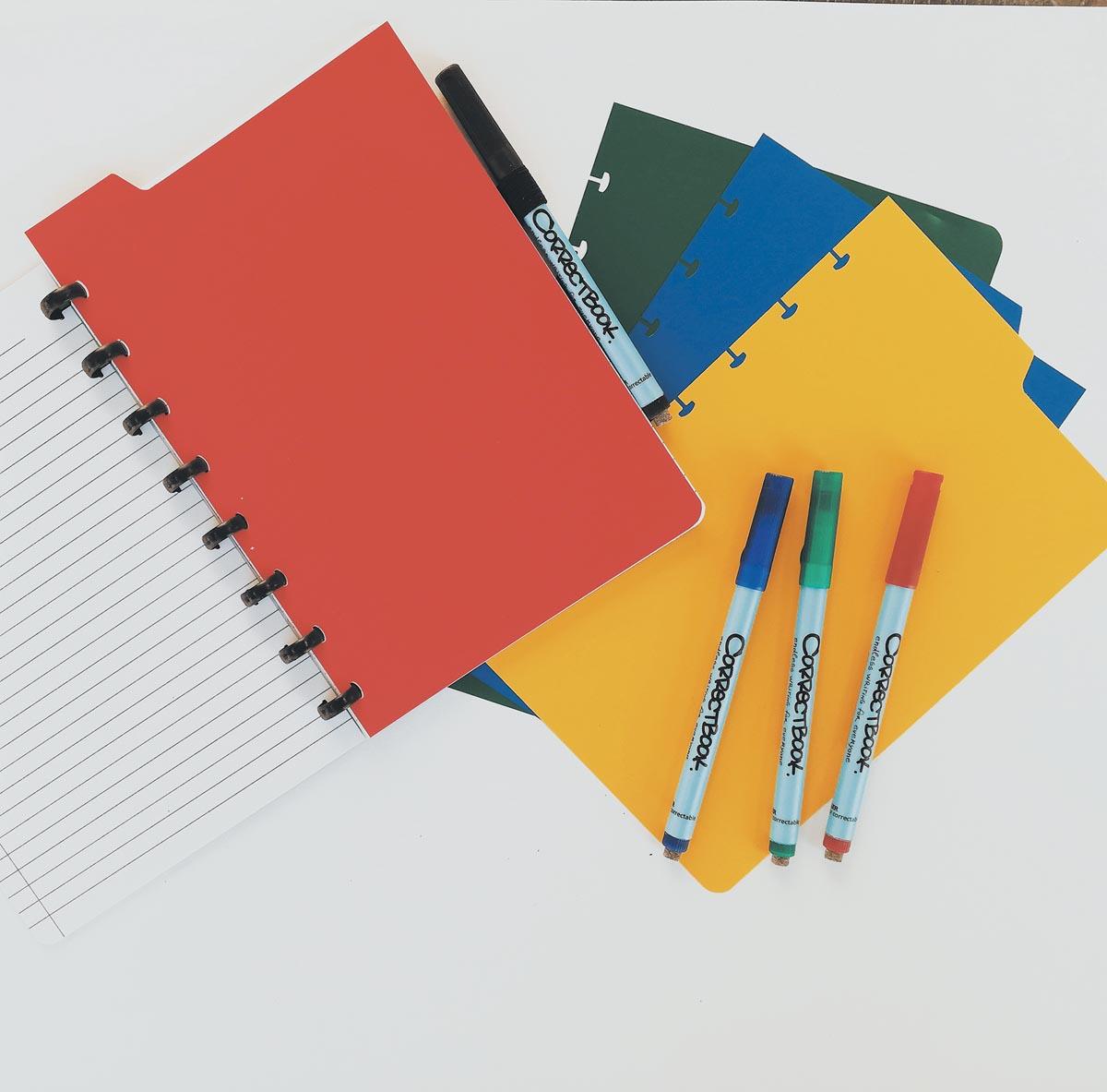 Correctbook tabbladen ft A5, 4 tabs in geassorteerde kleuren