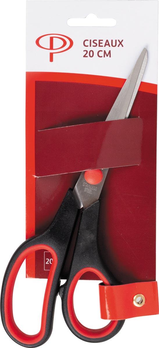 Pergamy schaar, ft 20,2 cm, handgreep uit kunststof, ergonomische softgrip ringen, rood/zwart
