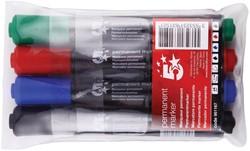 5 Star permanent marker ronde punt, schrijfbreedte 1 - 3 mm, etui van 4 stuks in geassorteerde kleuren