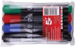 5 Star permanent marker,  schuine punt,  1 tot 5 mm, etui van 4 stuks in geassorteerde kleuren