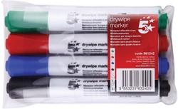 5 Star whiteboardmarker etui van 4 stuks in geassorteerde kleuren